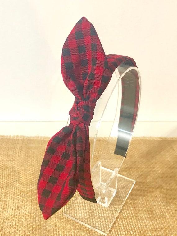 Christmas Headbands, Red Plaid Headband, Buffalo Plaid Headband for Girls, Christmas Gift for Girls, Red Knot Bow Headband, Fabric Headband