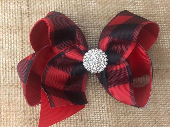 Red Plaid Hair Bow, Buffalo Plaid Hair Bows,Baby Christmas Hair Bow, Christmas Hair Bows for Girls, Red Black Plaid Clip