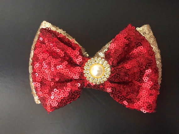 Red and Gold Hair Bows, Red Gold Sequin Bow, Christmas Hair Bows,Gold Pearl Hair Bow, Dance Costume Clip,Holiday Gold Red Hair Bow for girls