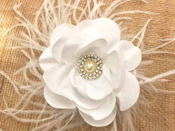 Wedding Hair Accessories, White Feather Fascinator, Floral Clip, Flower Girl Clip, Ivory Cream, Navy, Gray Chiffon Clip, Flower Girl clip,