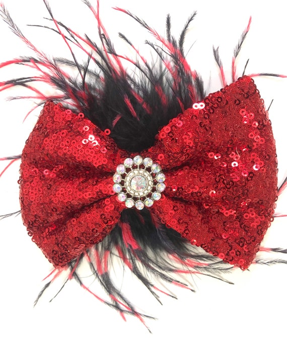 Red  Black Feather Hair Bow, Feather Hair Bow, Dance Costume Hair Feather Bow, Red, Gold, Royal Blue, Hot PinkFeather Bow