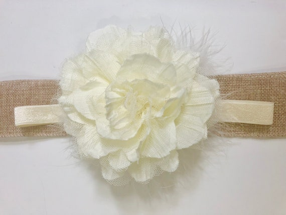 Baby Flower Headband,Baptism Headband, Ivory Hair Clip, Baby Shower Gift, White Flower Headband, Mint, Pink Headband, Flower Girl Headbands
