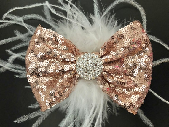 Rose Gold Hair Bow, Blush Gold Clip, Gold Hair Clip, Champagne Clip, Gold Feather Bow, Flower Girl Wedding Hair Accessories