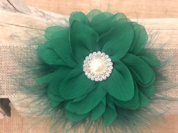 Green Crystal Hair Clip, Green Flower Headbands, Green White Flower Clip,Christmas Hair Clip,Emerald Green Bow, Green and White