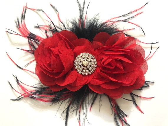 Red Black Flower clip, Black Red Feather Hair Clip, Dance Costume, Black Red Feather Hair Clip, Red and Black Feather Hair clip,Custom Clips