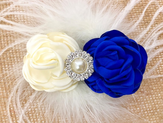 Royal Blue Ivory Hair Clip, Blue and Ivory Flower Hair Clip, Wedding Hair Clips, Bridal Flower Feather Clips, Ivory Feather Clip