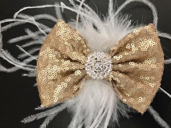 Champagne Hair Bow, Rose Gold Hair Bow, Champagne Hair Bow, Gold White Hair Bow, Pearl Rhinestone Bow, Wedding Hair Bow, Bridal Clip,