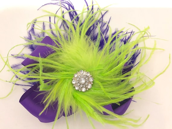 Dance Costume Hair piece, Lime Green Purple Hair Bow, Neon Lime Feather Hair Bow, Mardi Gras Purple Hair Bow, Dance Hair Clip, 7x8 Bow