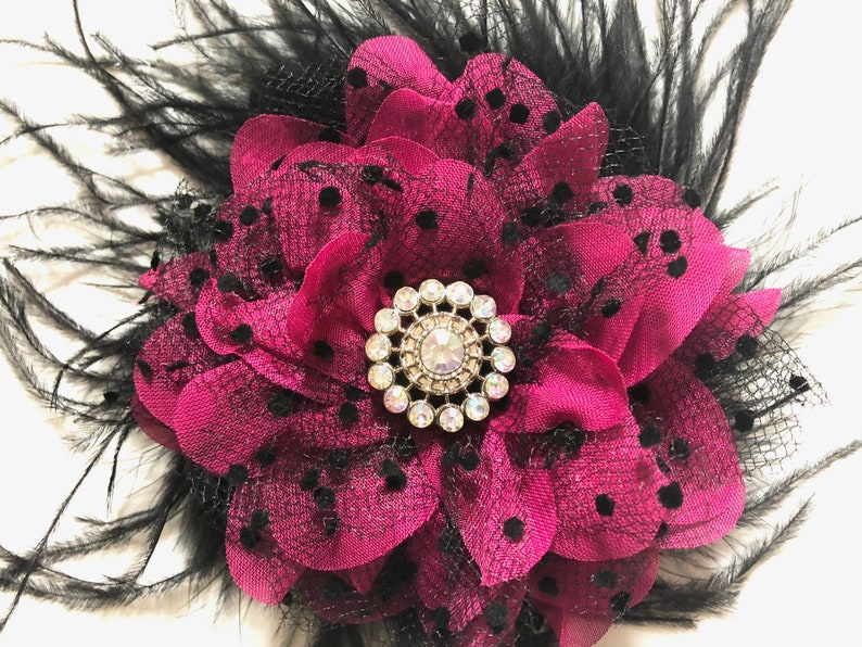 a175618a9b13 Black and Pink Flower Clip Bridal Hair Clip Black Feather