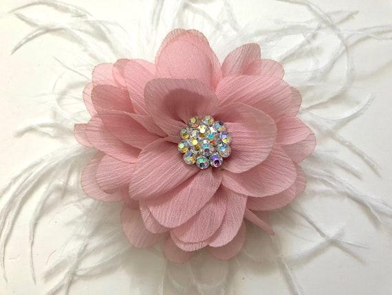 Dusty Pink Hair Clip, Pale Pink Hair Clip, Mauve Flower Clip, Flower Girl Hair Accessories, Soft Pink Chiffon Headband