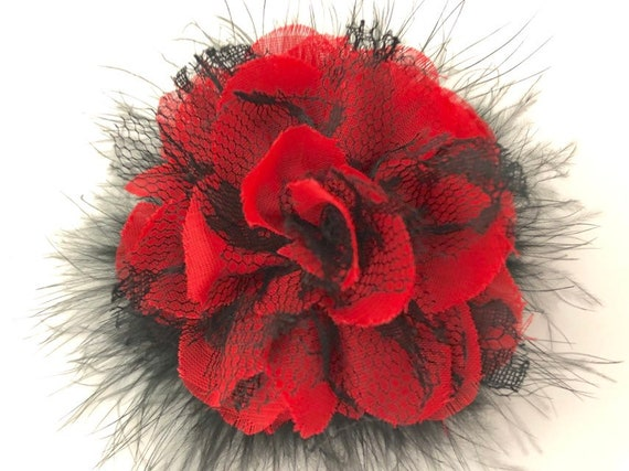 Red and Black Hair Clip, Red Floral Hair Clip, Dance Costume Hair Piece, Black Lace Clip, Feather Hair clip, Bridal Flower Hair Clip