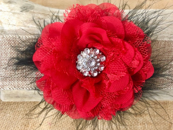 Red Black Hair Clip, Red Chiffon Lace Floral Clip,Dance Costume Hair Clip,Flower Girl Clip, Wedding Flower Clips, All Colors, White, Ivory