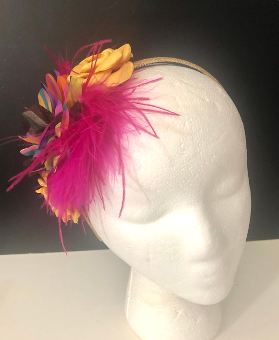 Kentucky Derby Fascinator Headband, Spring Rainbow Pink Feather Headband,Derby Feather Crown Headband, Gold Pink Flower Crown Custom made