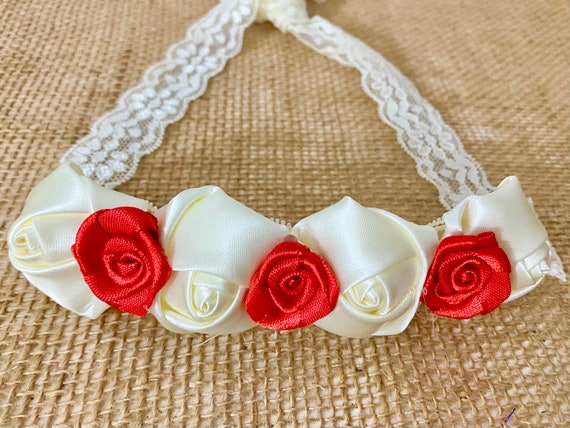 Christmas Headband, Red and Ivory Flower Crown Satin Rose Lace Crown Headband, Ivory Red Satin Headband, Baby Floral Christmas Baby Headband