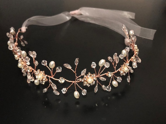 Flower Girl Crown Rose Gold Crown Crystal Crown Gold Crystal Flower Crown, Rose Gold Crown Wreath, Gold Crown, Pearl Wreath, Wedding Wreath