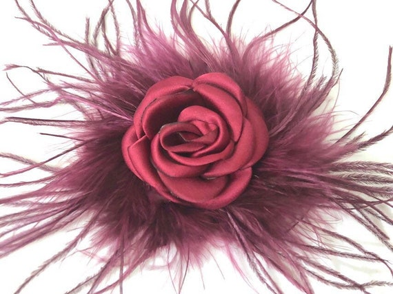 Flower Girl Hair Accessories, Burgundy Flower Hair Clip, Flower Girl Crown, Feather Hair Clips, Flower Girl Hair Accessories,