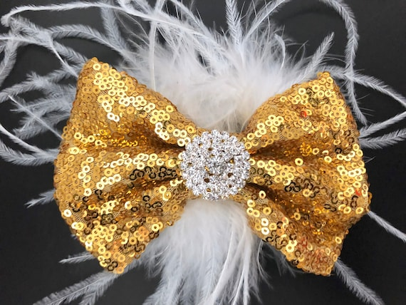 Gold Hair Clips, Gold Sequin Feather Hair Bows, All colors, Dance Competition, Red, Gold, Silver, Black, Hot Pink Sequin Hair Bows.
