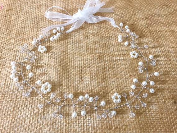 Floral Crystal Crown Hair piece, Crystal Wedding Crown,  Freshwater Pearl Crown, Flower Girl Crown, Communion Crown, Boho Wedding Crown