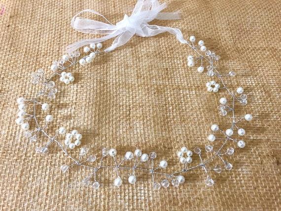 Flower Girl Crown, Crystal Pearl Crown, Bridal Crown Wreath, Wedding Crown, Diamond Flower Communion Wreath, Bridal Bling,