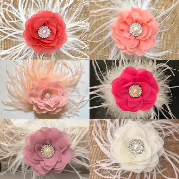 Wedding Flower Hair Clips, Coral Hair Clip, Deep Coral Hair Clip,Dusty Pink Hair Clip, Ivory Flower Clip, Blush Hair Clip,Feather Hair Clips