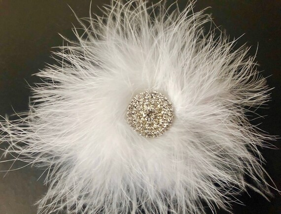 White Hair Clip, Crystal White Feather Hair Clip, Dance Costume Hair clip, Black Marabou Clip, Black,Hot Pink,Turquoise, Red Marabou Clips