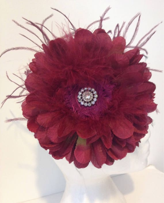 Burgundy Headband, Burgundy Wine Flower Headband, Fall Wedding, Burgundy Flower Headband