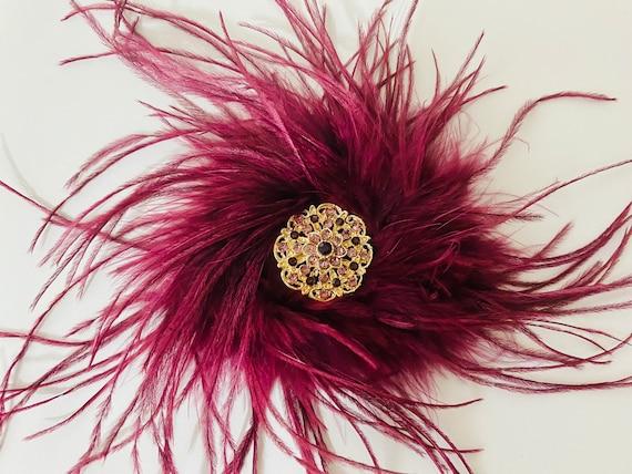 Gold Crystal Feather Hair Clip, Vintage Crystal Burgundy Hair Piece, Wedding Bridal Hair Jewelry, 1920's Feather Headpiece, Red Wedding Hair