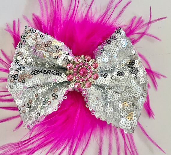 Silver and Pink Hair Clip, Dance Costume Hair Clip, Pink Feather Silver Hair Bow, All Colors,Red,Gold, Wine,Royal Blue, Black Feather Bow