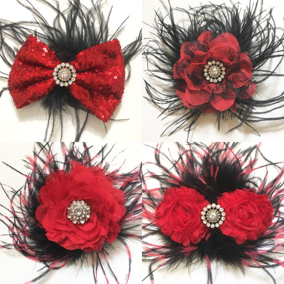 Red Black Flower Feather Hair Clip, Red Black Lace Flower  Clip, Dance costume Hair pieces, Custom Dance Competition Hair Clip,