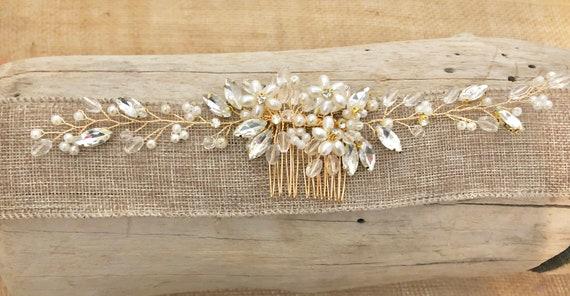Wedding Hair Comb, Gold Wedding Headpiece, Crystal Hair comb,Pearl Hair Comb, Bridal Hair Comb,Vintage Wedding Comb, Bridal Hair jewelry