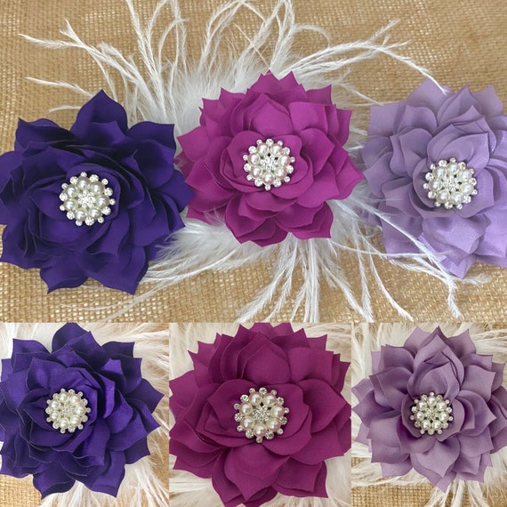 Wedding Flower Hair Clips, Kentucky Derby Fascinator, Blush Flower Clip, Taupe, Lavender, Champagne, Dusty Pink Rose Floral Hair Clips.