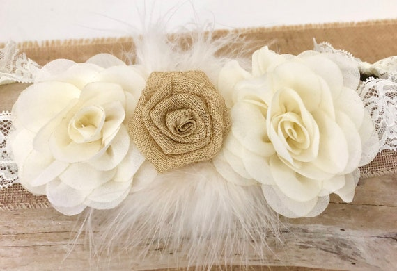 Rustic Hair Clip, Ivory Gold Beige Flower Clip, Flower Girl Hair Clip, Bridal Hair Clip, Bridal Headband, Beige Ivory Lace Headband, Baptism