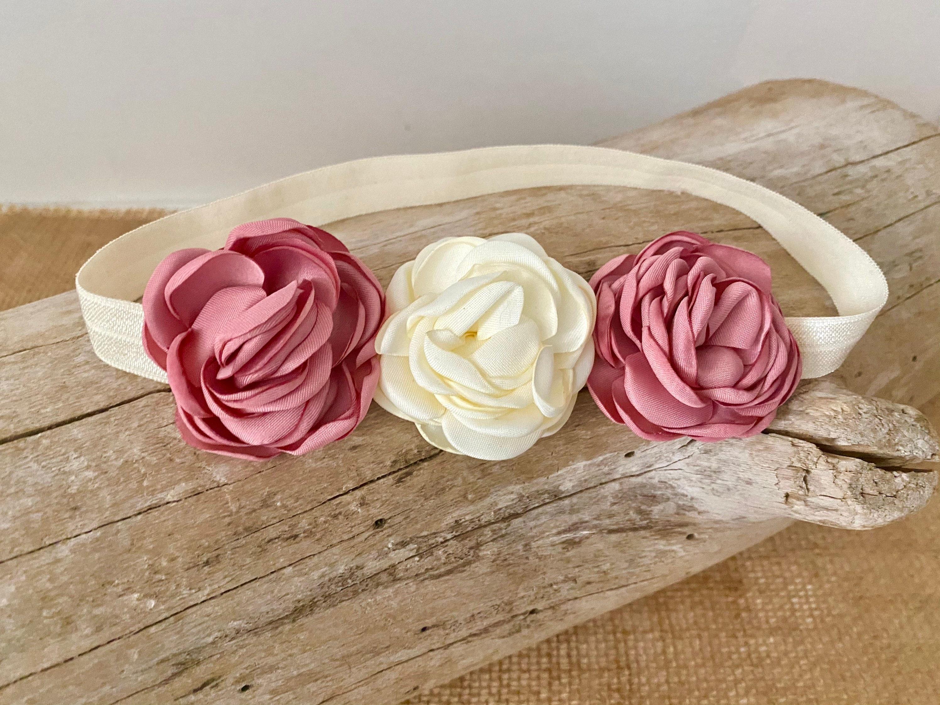 girls headband pink baby headband Pink headband pink flowercrown flower headband