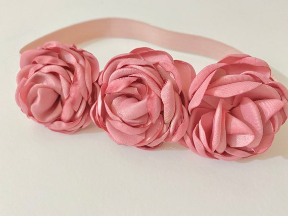 Baby Floral Headband, Dusty Pink Rose Baby Floral Headband, Pale Pink BabyTurban Headbands, Baby Shower gift, Rustic Floral Turban Headband