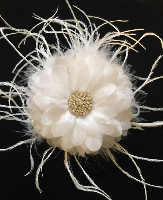 Kentucky Derby Fascinate, Vintage Wedding Crystal Hair Clips, White Feather Crystal Clip, Communion Hair Clip