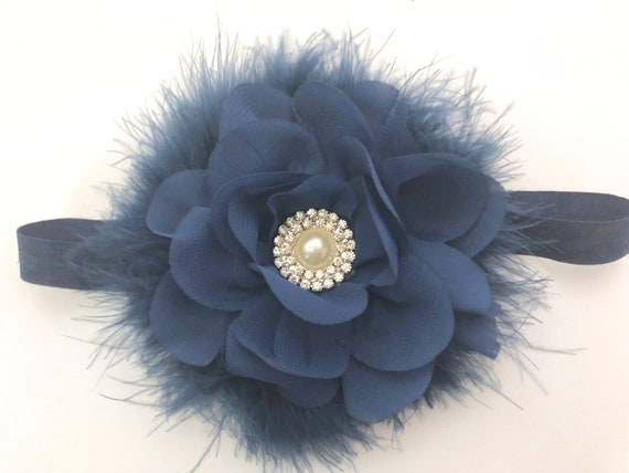 Navy Flower Headband, Baby Flower Hair Clip, Blue Baby Headband, Navy Flower Clip, Holiday clip, Navy Baby Headband, Christmas Headband