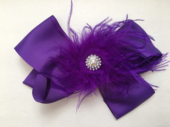 Purple Feather Hair Bow, Rhinestone Feather Hair Bow, Dance Costume Hair piece, Flower Girl Hair Bow, Fancy Girl BoutiqueNYC