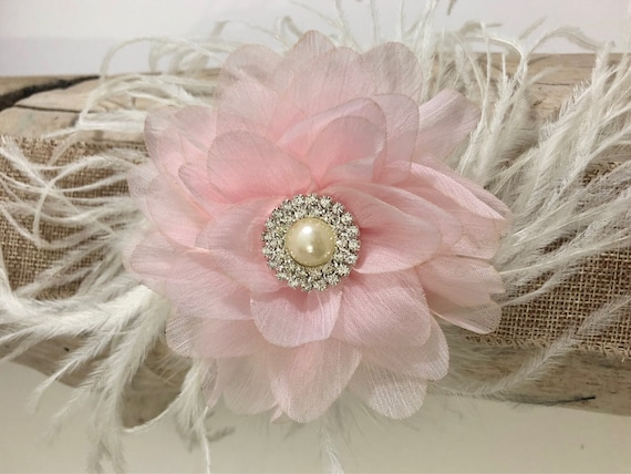 Soft Pink Flower Hair Clip, Bridal Hair Clip, Flower Girl Hair Clip Accessories, Soft Pink Chiffon Pearl Feather Clip, Baptism Headband