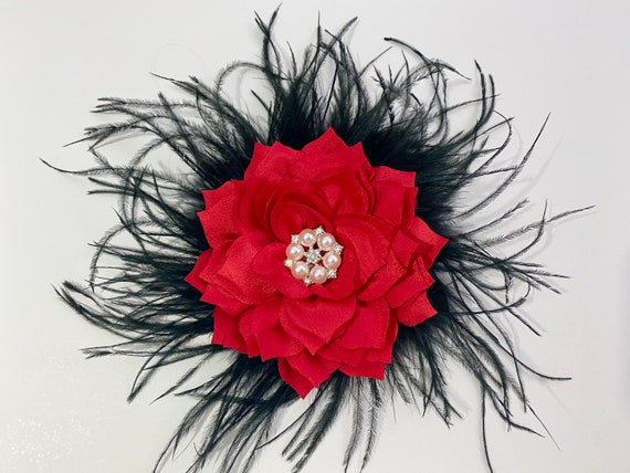 Red Hair Clip, Red Flower Hair Clip, Red Black Feather Clip, All colors, Green, White, Burgundy, Taupe, Dusty Rose, Purple, Ivory, Lilac