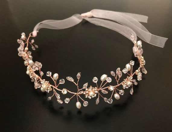 Flower Girl Crown, Flower Girl Headband, Rose Gold Crown, Silver Flower Girl Crown, 1st Communion Crown, Gold Flower Crown, Baby Halo Wreath