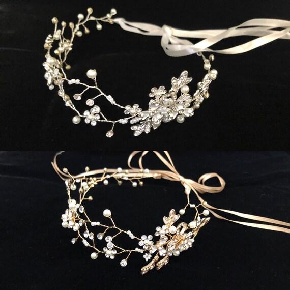 Flower Girl Crown, Flower Silver Crown Wreath, Crystal Pearl Silver Crown Wreath, Bridal Headband, Wedding Wreath, Flower Girl Gold Headband