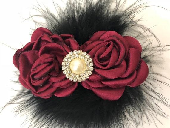 Burgundy Black Clip, Holiday Hair clip for girls, Flower Girl Clip, Bridal Clip, Red Wine Black Pearl Clip, Maroon Clip, Baby headband