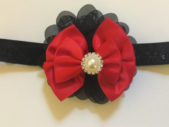 Baby Red Black Headband Red and Black Pearl Headband.Newborn, Toddler Stretchy Headband, Flower Girl Hair Accessories