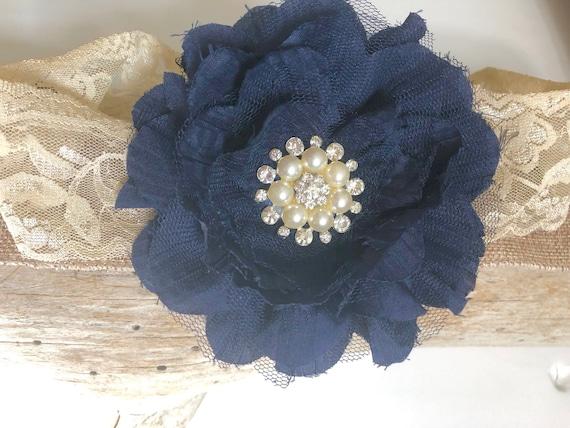 Oatmeal and Navy Headband, Navy Flower Crystal Pearl Hair Clip, Bridal Hair Clip, Flower Girl Headband, Oatmeal Beige Lace Headband