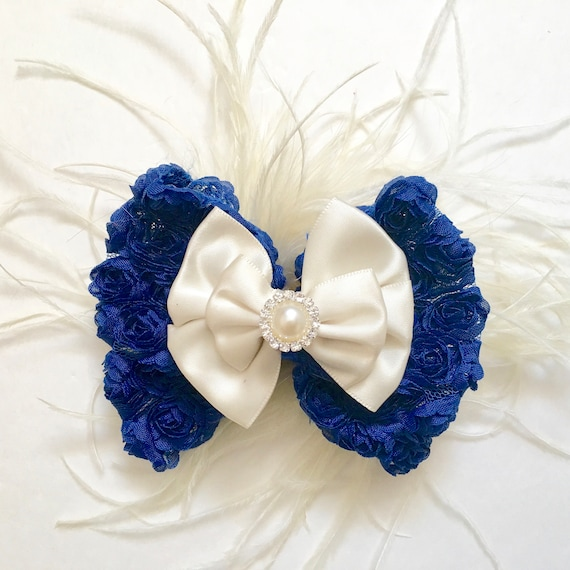 Ivory and Blue Pearl Hair Bow, Navy Feather Bow Clip, Blue Ivory Feather Hair piece, Flower Girl Hair Clips, Ivory Cream Satin Bow, Blue Bow