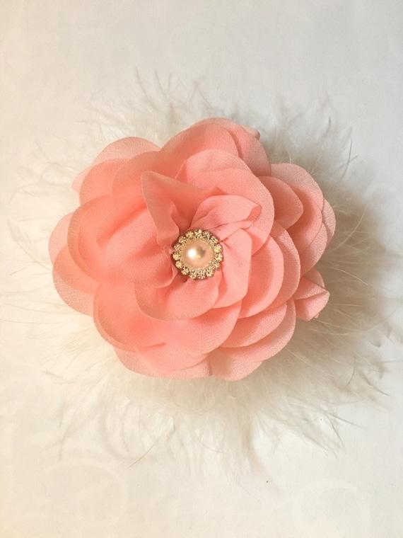 Peach Floral Clip, Flower Girl Clip, Peach clip, Bridal Hair Clip, White, Ivory, Grey Flower clip, Portrait photo, Holiday Clip