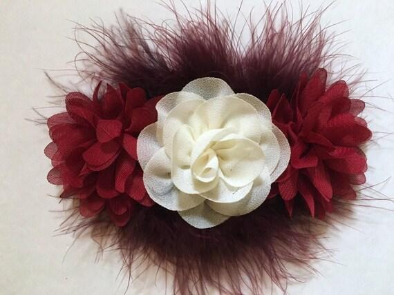 Wedding Flower Clips,Ivory Wine Hair Clip, Burgundy Ivory Hair Clip,Maroon Clip, Bridal Flower Clip, Flower Girl clip, Baby Headband.
