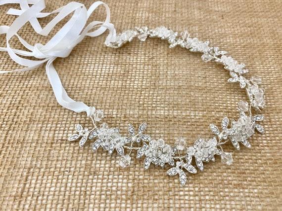 Communion Crown, Flower Girl Crown, Silver Crystal Crown, Silver Wedding Crown,Bridal Tiara Crown, Bridal Headband, Halo Wreath Flower Crown
