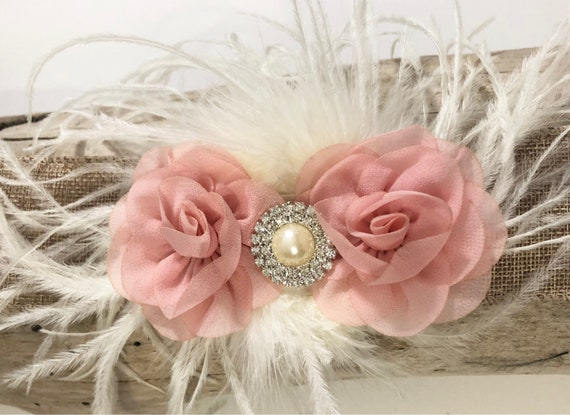 Pale Pink Flower Hair Clip, Blush Pink, White, Mint, Ivory Flower Girl Hair Clip, Feather Hair Clip, Flower Girl Clip