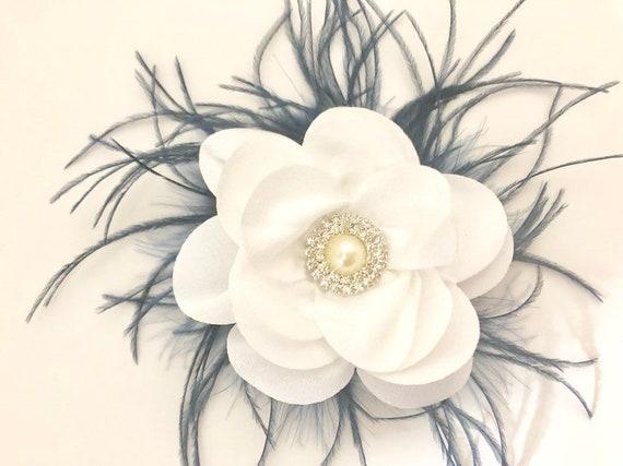 White Navy Flower Clip, Pearl Clip, Bridal Hair Clip, Nautical Hair Clip, Navy Feather clip, Navy Hair Bow, Flower Girl Clip,Wedding Flower